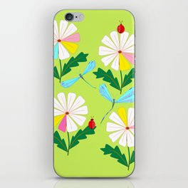 Green Spring Damselflies, Lady Bugs and Daisies iPhone Skin