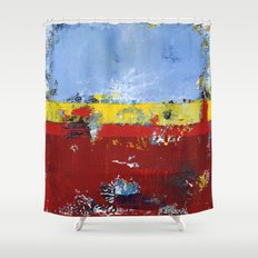 Deerfield Red Yellow Blue Abstract Art Primary Colors Shower Curtain