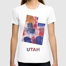 Utah map outline Red blue brown watercolor painting T-shirt
