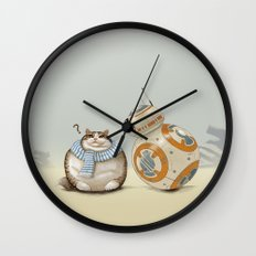 CAT AND DROID Wall Clock