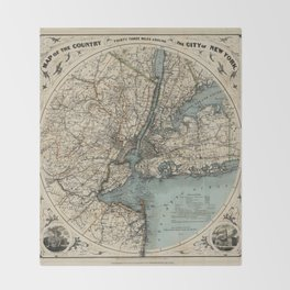 Map of New York 1891 Throw Blanket