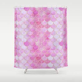 Pink Pearlescent Mermaid Scales Pattern Shower Curtain