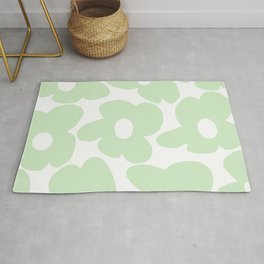Large Baby Green Retro Flowers White Background #decor #society6 #buyart Rug