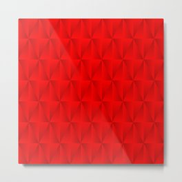 Graphic stylish pattern with iridescent triangles and red squares in zigzag rhombuses. Metal Print