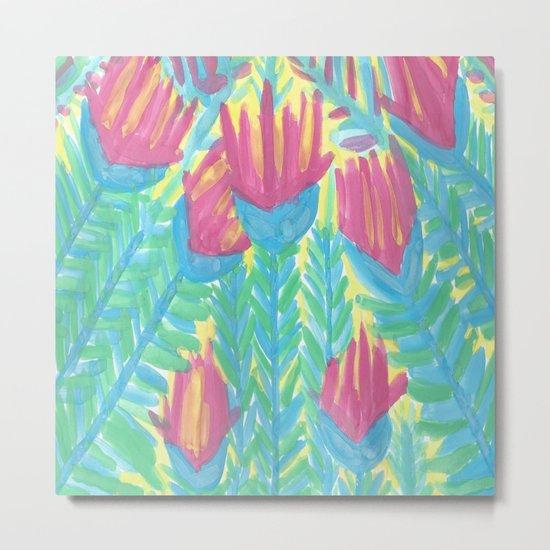 Lotus Garden Abstract Metal Print