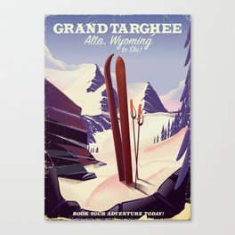 Grand Targhee, Alta, Wyoming ski poster Canvas Print