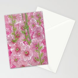 Hollyhock Mallows, Stem Rose, Summer Flowers, Paper Collage Stationery Cards