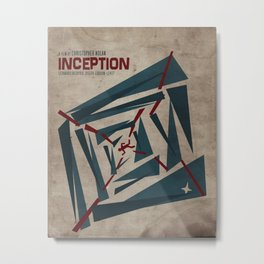 """Inception"" Leonoardo DiCaprio Film Inspired Vintage Movie Poster Metal Print"