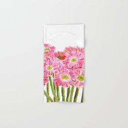 Pink Gerbera Daisy watercolor Hand & Bath Towel