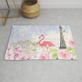 Elegant vintage french Eiffel Tower watercolor flamingo floral Rug