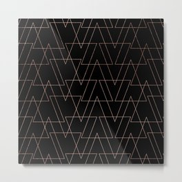 Modern rose gold geometric thin triangles black abstract pattern Metal Print