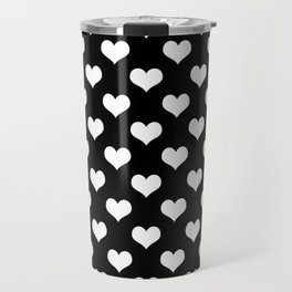 Black White Hearts Minimalist Travel Mug