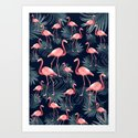 Summer Flamingo Palm Night Vibes #1 #tropical #decor #art #society6 by anitabellajantz