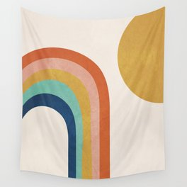 The Sun and a Rainbow Wall Tapestry