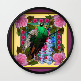 YELLOW-PUCE  PURPLE & PINK ROSES GREEN PEACOCK FLORAL Wall Clock