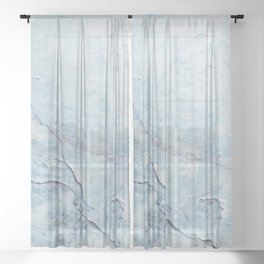 Light Blue Marble Sheer Curtain