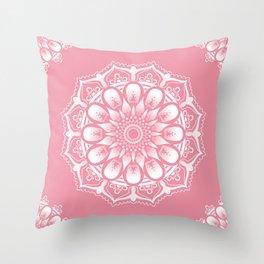 White Flowers Mandala Throw Pillow