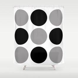 Mid Century Modern Polka Dot Pattern 9 Black and Gray Shower Curtain