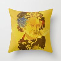 beethoven Throw Pillows featuring Beethoven by BIG Colours