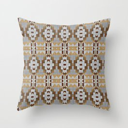 Brown Taupe Tan Gray Native American Indian Mosaic Pattern Throw Pillow