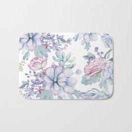 Pretty Blue Pink Succulents Garden Bath Mat