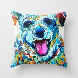 Colorful Dog Art - Smile - By Sharon Cummings Throw Pillow