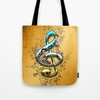 decorative Tote Bags featuring Decorative clef  by nicky2342
