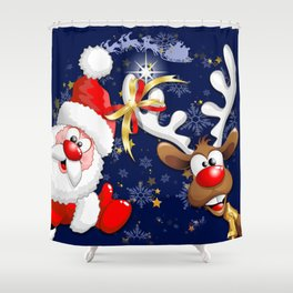 Merry Christmas Happy Santa and Reindeer Shower Curtain
