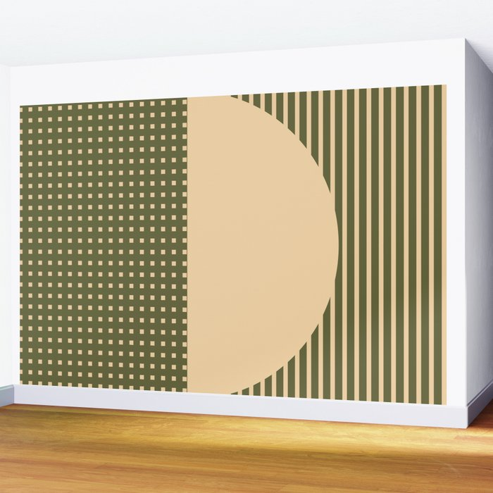 Geometric Spring Abstract - Pantone Warm color Wall Mural