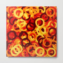 Wooden ring collage Metal Print