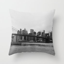 Brooklyn Bridge and downtown New York, USA   Sky and water   abstract travel art   Tipical NY building and view architecture photo Art Print Throw Pillow