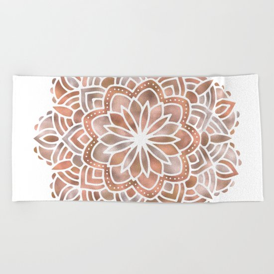 Mandala Rose Gold Flower Beach Towel