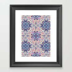 Protea Pattern in Blue, Cream & Coral Framed Art Print