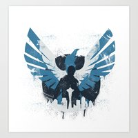 hero Art Prints featuring Hero by Pixel Design