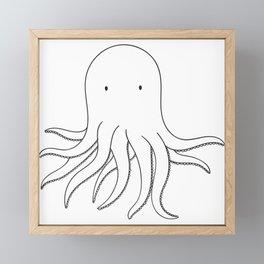 Cute Squid Animal sketch drawing Framed Mini Art Print