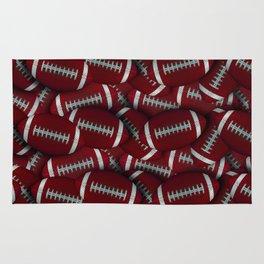 Football Field of Red Footballs Rug