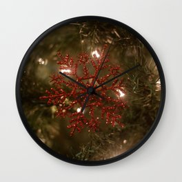 Red Snowflake Photography Print Wall Clock