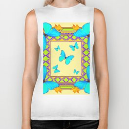 Decorative Cream & Turquoise Butterfly Art Biker Tank