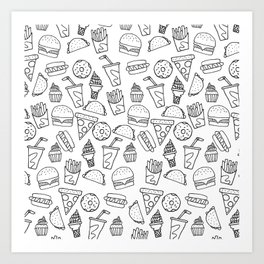 Fast Food Monoline Doodles Art Print