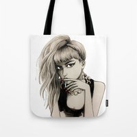 grimes Tote Bags featuring Grimes by Justine Lecouffe