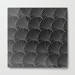 Black & White Shell Fan Pattern Design Metal Print