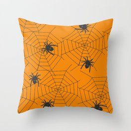 Halloween Spider Illustration Throw Pillow