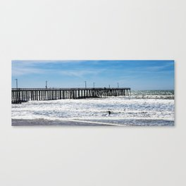 A Panoramic View Of Pismo Beach Pier, Surfers And Ocean Canvas Print
