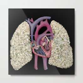 Fetal Heart with Baby's Breath Lungs Metal Print