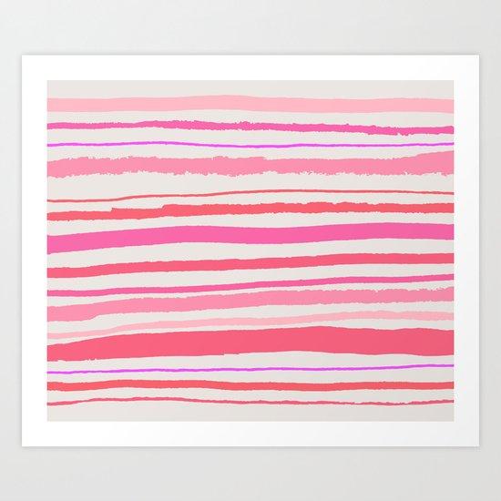 Coral & Pink Stripes Art Print
