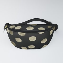 Watercolor . Olive green polka dots on black . Fanny Pack