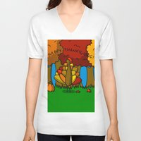 thanksgiving V-neck T-shirts featuring Happy Thanksgiving! by Veronica Nagorny