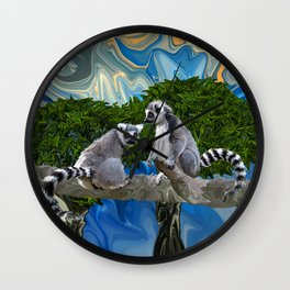 Playful Lemur-ick  Wall Clock