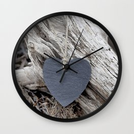 Beach Love Slate Heart on sea washed driftwood Wall Clock
