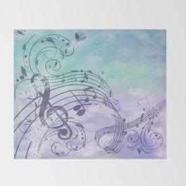 Music Notes Flutter Throw Blanket